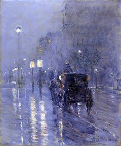 Frederick Childe Hassam (Evening in New York (Rainy Midnight), c.1890) Hand-Painted Art Reproduction with Oil on Canvas (21.3x18.2 in) (54x46.3 cm)