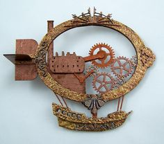 Airship - just found where to purchase this made out of chipboard! Get this look with dyes & metallic paints?