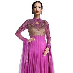 Light Purple Net Asymmetrical Anarkali Readymade Churidar Kameez