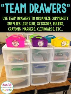 to Keep Community Supplies Organized True Life I'm a Teacher: How to Keep Community Supplies OrganizedTrue Life I'm a Teacher: How to Keep Community Supplies Organized Classroom Layout, Classroom Organisation, Classroom Supplies, Teacher Organization, Classroom Management, Classroom Design, Organization Ideas, Organized Teacher, School Supplies