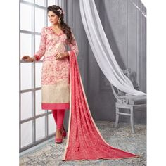 Chanderi Cotton Cream Churidar Suit Dress Material - 16507