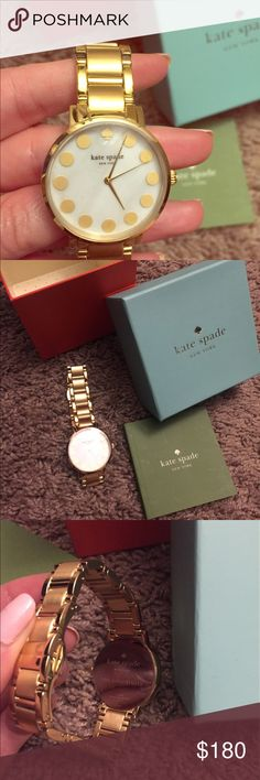 Brand New Kate Spade Gold Link Watch This watch has never been worn! It even has the plastic covering on the face and the back of the watch. (You can kindof see the glare from the plastic in the 3rd photo). Comes in the original box. I will accept offers! kate spade Accessories Watches