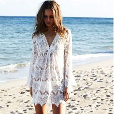 bd8a54b896 White Lace Crochet Beach Tunic V Neck Long Sleeve Bikini Cover Up Hollow  Out Mini Beach Dress