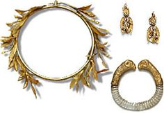 Ancient Greece jewelry from the National Archaeological Museum of Athens. Head piece, bracelet, and earrings.  http://www.allaboutgemstones.com/images/history_jewelry_greece2.jpg