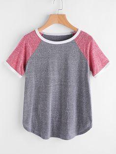 T-Shirts by BORNTOWEAR. Contrast Binding Raglan Sleeve Marled Tee