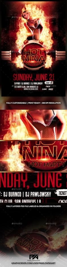 Fire Club DJ Party Flyer Template - Clubs & Parties Events