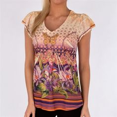One World Floral Sublimation Tee with Butterfly #VonMaur #OneWorld #Yellow #Printed