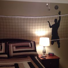 Boys volleyball bedroom: wall decal from Amazon and net from WalMart …