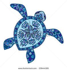 Decorative graphic turtle, tattoo style, tribal totem animal, vector illustration, isolated elements, lace pattern,  Indian mehendi style