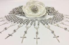 100 pcs Rosaries, decenario Rosaries, Mini Rosaries, First communion, Recuerditos Bautizo 100pz/ Mini Pearl Rosary Baptism Favors 100pcs