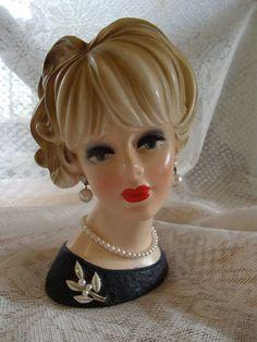 Napcoware C7473 Lady Head Vase Black Dress