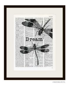 Dragonflies Dream quote dictionary print  on by naturapicta, $7.99