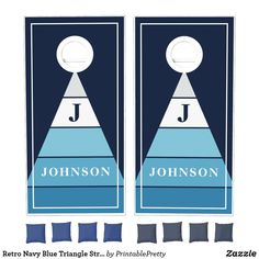 Retro Navy Blue Triangle Stripes Family Name Cornhole Set Custom Cornhole Boards, Cornhole Set, Cross Beam, Fun Party Games, Johnson And Johnson, Epic Games, School Colors, Monogram Initials, Blue Bags