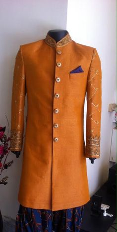 mustard sherwani only at SAGAR TENALI.