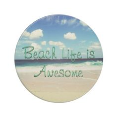 Beach Life is Awesome Sandstone Coaster - photography gifts diy custom unique special