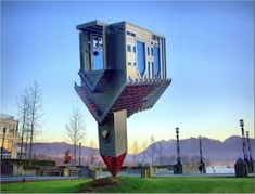 """OK not actually a building but a statue. Still a rather unusual piece of architecture entitled """"Device to Root out Evil"""" it's in Vancouver, Canada. Unusual Buildings, Famous Buildings, Interesting Buildings, Amazing Buildings, Amazing Houses, Upside Down House, Architecture Unique, Crazy Home, Inspiration Design"""