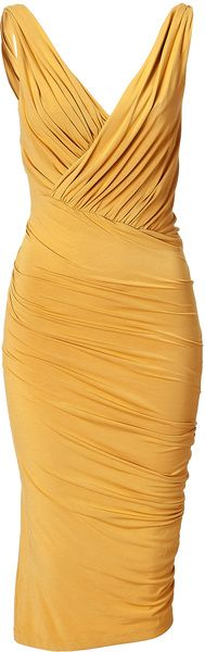 Donna Karan Butterscotch Twist Draped Dress + statement necklace <3