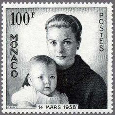 Principality of Monaco。1958-Princess Grace and baby