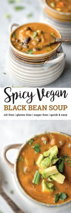 Spicy vegan black bean soup...