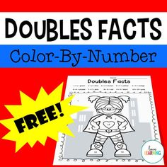 Doubles Facts Up to Color-by-Number Superhero Freebie Number Activities, Number Games, Math 2, 2nd Grade Math, Primary Resources, Teaching Resources, Doubles Facts, Superhero Classroom, Adding And Subtracting