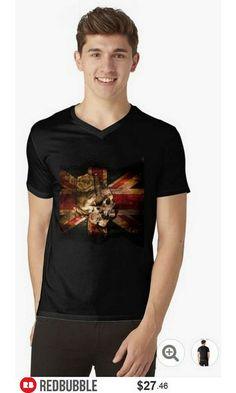 Skull Flag V Neck Tshirt Men #artbyurte