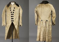 Coat, 1780s-1800, Norway. Hand woven plush fabric in wool and silk, lined with wool and linen fabric in plain weave. Buttons of lacquered metal. Hand Stitching. Nasjonalmuseet for kunst, arkitektur og design