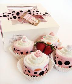 Diaper cupcakes Baby Shower Gift YUMMY by twosieskidboutique, $17.95