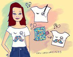 Customização Ilustrada - camiseta com bigode