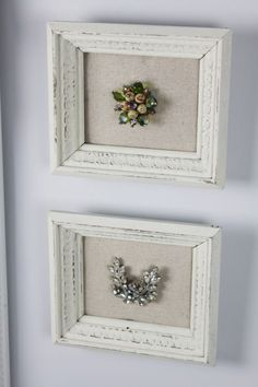 Framed Jewelry Tutorial - fabric covered cardboard inside a frame. This is a clever way to display Grandma's vintage jewelry!