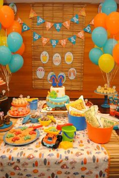 Festa tema Praia 1 Year Old Birthday Party, 4th Birthday Parties, Pool Party Themes, Festa Party, Baby Party, Childrens Party, Luau, Holidays And Events, Bernardo