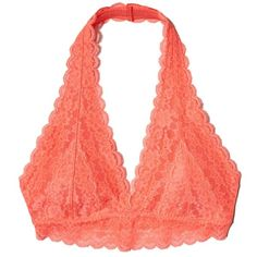 Hollister Lace Halter Bralette ($9.99) ❤ liked on Polyvore featuring intimates, bras, pink lace, halter bra, halter-neck tops, lacy bras, pink bra and halter neck bra