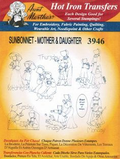 Sunbonnet Mother Daughter  Aunt Marthas by paulitransfers on Etsy, $3.00