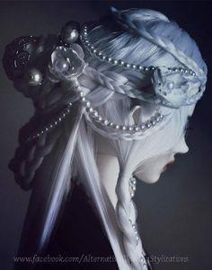 Gothic hair. White hair. Braids. Gothic Victorian.