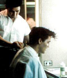 March 17 1958 Elvis got a haircut at Jim's Barber Shop downtown Memphis.