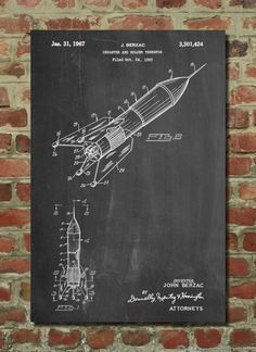 Rocket Ship Concept 1963 Patent Poster, Space Nursery, Rocket Power, Outer Space Print, Scientist, Engineer, Spaceship by PatentPrints on Etsy https://www.etsy.com/listing/220482665/rocket-ship-concept-1963-patent-poster