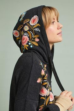 Embroidered Hooded Sweatshirt from Anthropologie 2017