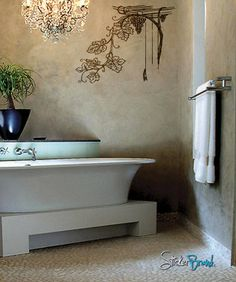 Grape Vine Vinyl Wall Decal - I love everything about this bathroom; the chandelier, wall color, tiles and the decal with the pop of color from the plant make this bathroom feel so luxurious and relaxing.