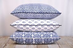 KALYANA TEXTILES - Block print cushions in crisp, classic blue & white.   Handcrafted in India by skilled artisans using intricately carved blocks. 100% cotton.