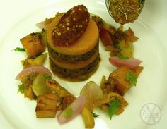 Puy Lentil Tian, Pickled Shallot, Potato Cube, Onion Marmalade #catering #events #leicestershirefood #xclusive