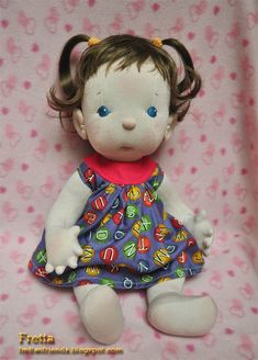 "Fretta: Fretta's Peanut Baby Doll. Light Brown Hair, Blue Eyes. 18"" / 46 cm. Natural Soft Sculptured Jointed Baby, Child Safe Cloth Doll."