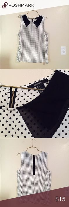 Black and White Polka Dot Collared Top Pre loved. Like new. Black and white polka dot print. Collated front style. Exposed zipper back with gold hardware. Forever 21 Tops Tank Tops