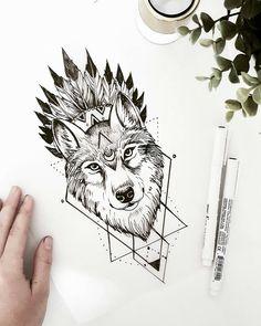 Tattoo Designs Geometric Wolf New Ideas Tattoo Sketches, Tattoo Drawings, Body Art Tattoos, New Tattoos, Sleeve Tattoos, Tattoos For Guys, Drawing Sketches, Wolf Tattoo Design, Tattoo Designs