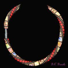 Häkelkette - Bead crochet rope - Mix ´n Match red von BK Beads