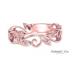 Floral Scroll Rose Gold Ring #jewelry #ring