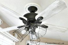 how I turned my ceiling fan into a rustic farmhouse style lighting fixture. Recently the kitchen has taken on a new farmhouse style, which I am loving! How To Make A Chandelier, Old Chandelier, Chandeliers, Chandelier Ideas, Ceiling Fan Makeover, Lamp Makeover, Ceiling Fan Redo, Ceiling Fan In Kitchen, Kitchen Fan