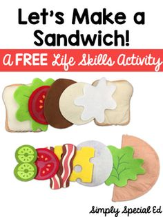 This FREE Let's Make a Sandwich Freebie includes visuals for students to fill sandwich orders with felt food, play food, or food pictures. Students use the visual to fill the order, this is a perfect addition to your life skills centers, task boxes and more.
