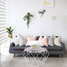 Love - pop of colour on grey & neutrals. Grey sofas seem like the most flexible for mixing & matching colours. Easy to maintain as well.