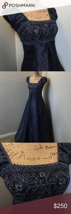 Stunning starry night navy prom dress So beautiful and exquisite is this navy colored princess A line prom/ special occasion dress. Lovely silver colored detailing at the bodice. Zip up back. Tulle underlining. Open pleat overlay in front under the bodice. Beautiful cond. Polyester Acetate Nylon. Jody Dresses Prom
