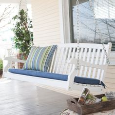 Coral Coast Pleasant Bay All-Weather Curved Back Acacia Wood Porch Swing - Painted White - NS-LV-06