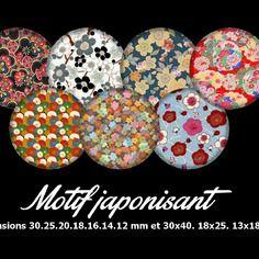 70 images digitales à imprimer 30.25.20.18.16.14.12 mm et 30x40.18x25.13x18 mm thème motif japonisant